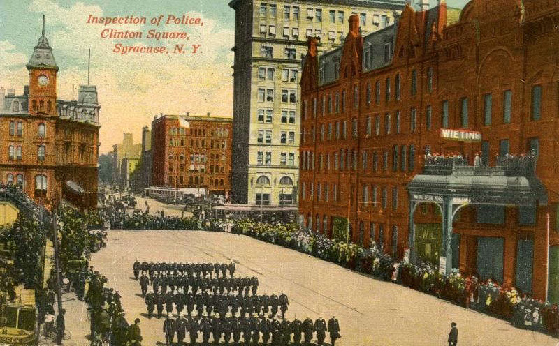 NY - Syracuse. Clinton Square, Inspection of Police