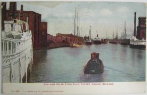 Chicago River From Rush Street Bridge Chicago IL 1907