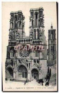 Old Postcard Laon Facade of the Cathedral