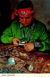 Navajo Indian Silversmith At Work