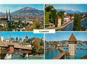Vintage Post Luzern Alpen Spreuerbrucke Kapellbrucke Towers  # 3769