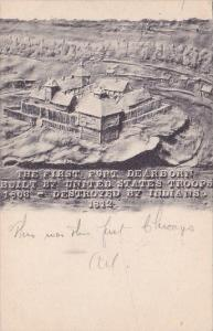 Illinois Chicago The First Fort Dearborn Built By United States Troops 1906