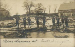 East Limington ME Rivers Drivers Logging Lumberjacks Real Photo Postcard c1905