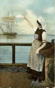 Dutch Lady Waving Farewell to Ship