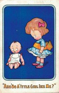 Are You A Little Girl Like Me? Cute Kids Vintage Postcard 06.53