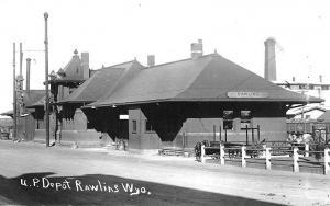Rawlins WY Union Pacific Railroad Station Train Depot RPPC Postcard