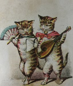 BEGGS Family Medicine Victorian Trade Card Anthropomorphic Cats Lute Guitar