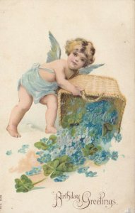 BIRTHDAY, 1900-10s; Greetings, Cherub scattering Forget-Me-Nots out of basket