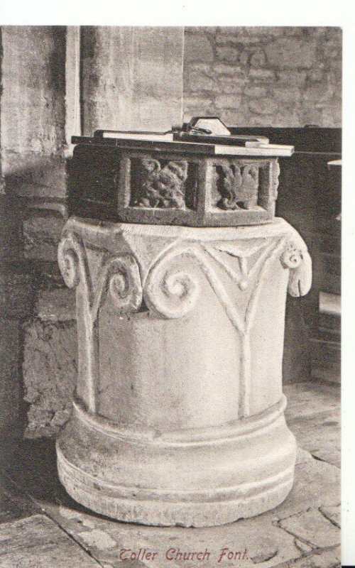 Northamptonshire Postcard - Toller Church Font - Ref 17566A