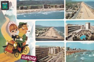 Man Smoking on Bicycle in Gandia Spain Postcard