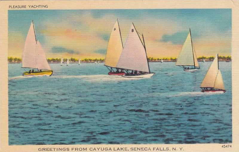 Yachting, Greetings from Cayuga Lake, Seneca Falls,  New York,  PU-1946