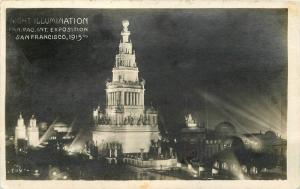 Night Illumination Pan Pac Exposition 1915 San Francisco California PPIE 7326