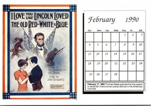 1990 Sheet Music Calendar Series February I Love You Like Lincoln Loved The O...