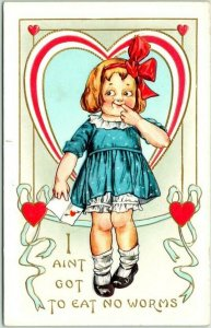 Vintage VALENTINE'S Day Embossed Postcard I AIN'T GOT TO EAT NO WORMS c1910s