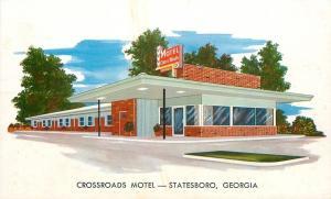 Statesboro Georgia~Crossroads Motel~1950s Artist Drawing Postcard