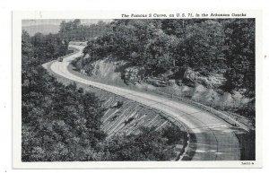 Postcard Arkansas AR The Famous S Curve U.S. 71 Ozarks Standard View Card