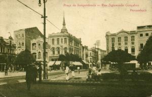 brazil, PERNAMBUCO, Praça da Independencia, Rua Sigismundo Gonçalves (1929)