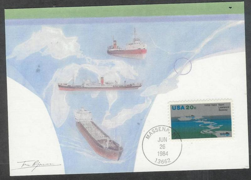 1984 first day maximum card St. Lawrence Seaway