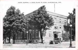 Clintonville Wisconsin~Hotel Marson~1920s Vintage Car~Globe Lamp Post~1952 B&W