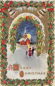 Christmas Post Card Old Vintage Antique Xmas Postcard Writing on back