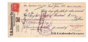 1933 Estabrooks, Red Rose Tea, Cheque w Canadian Stamp, Souris P.E.I.