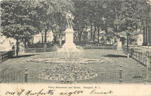 Newport Rhode Island~Perry Monument & Green~Fountain 1906 B&W Postcard