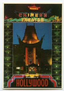 Postcard Mann's Chinese Theater Night View Hollywood CA Continental View Card