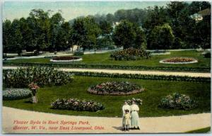 Chester, West Virginia Postcard Flower Beds in ROCK SPRINGS PARK c1910s Unused