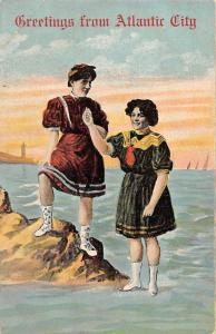 USA Greetings from Atlantic City Women in Traditional Costumes Lighthouse Boats
