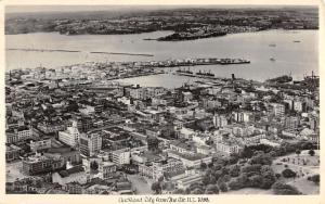 Auckland City New Zealand Aerial View Real Photo Antique Postcard K17181