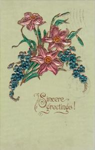 Sincere Gretings With Beautiful Flowers 1908
