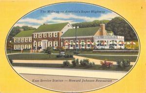 Pennsylvania Turnpike Howard Johnson Restaurant Esso Station Postcard K80851
