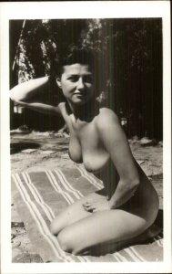 Beautiful Nude Woman Large Breasts Beach Towel Unidentified RPPC Postcard