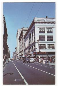 Fourth Street Cars Louisville Kentucky 1950s postcard