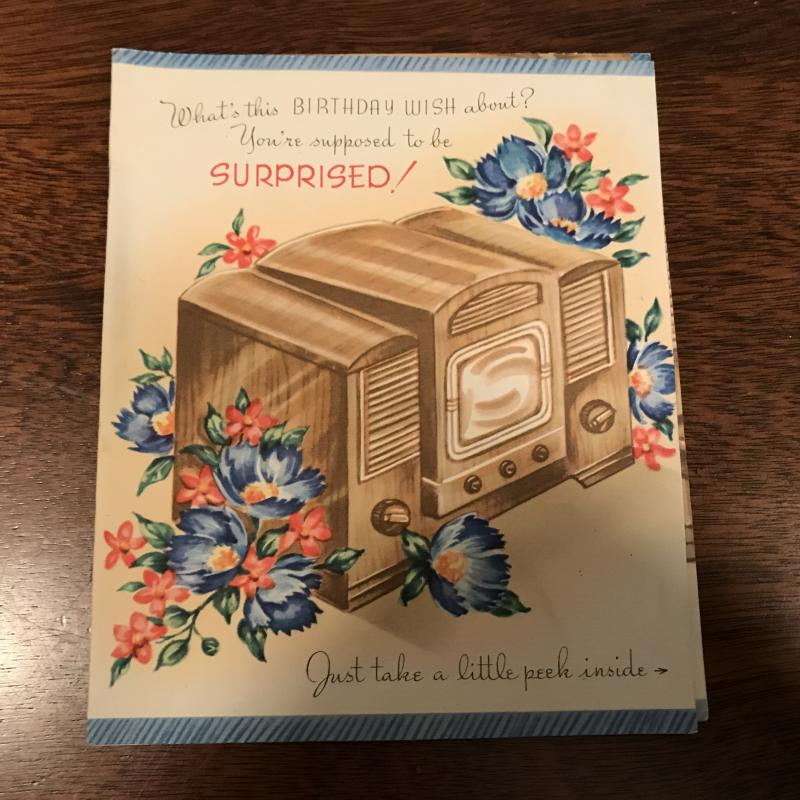 Vintage Birthday Card - TV Television - Flicker Picture Screen