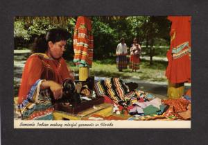 FL Seminole Indians Indian Sewing Machine Clothing Garments Florida Postcard