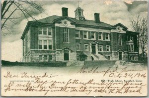 Stamford, Connecticut Postcard HIGH SCHOOL Building Front View w/ 1906 Cancel
