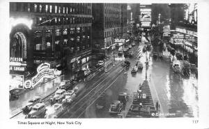New York City, Times Square at Night, auto cars, Casino, Real Photo 1952