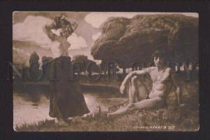 077609 Semi-NUDE Belle & Man on Beach by HOFFMAN vintage PC