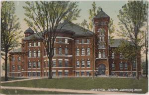 1908 OWOSSO Michigan Mi Postcard CENTRAL SCHOOL BUILDING