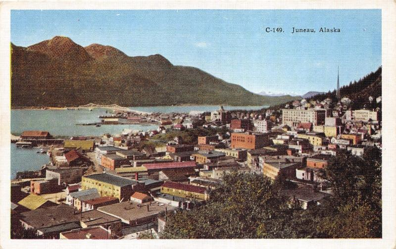 Juneau Alaska~Bird's Eye View Overlooking Bay~1940s Linen Postcard