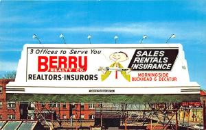 Atlanta GA Berry Realty Insurance Advertising Billboard Postcard