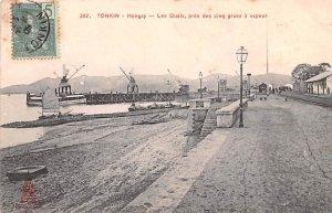 Hongay, Les Quais, pres des cinq grues a vapeur Tonkin Vietnam, Viet Nam 1909...