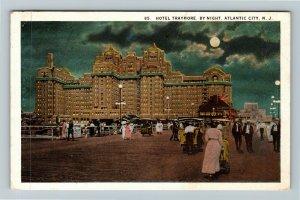 Atlantic City NJ-New Jersey, Hotel Traymore By Night, Moon, Vintage Postcard