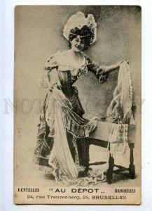 187212 ADVERTISING Lace Dentelles AU DEPOT Broderies Vintage
