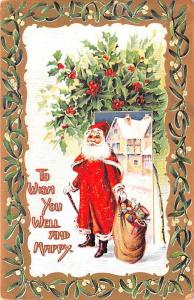 Santa Claus Christmas Old Vintage Antique Postcard