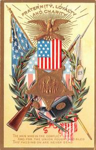 Patriotic Post Card Old Vintage Antique Postcard Fraternity, Loyalty, and Cha...