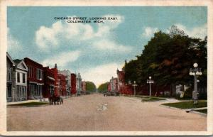 Coldwater Michigan~Chicago Street~East to Downtown Stores~Horse Buggy~1916 PC