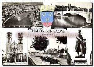 Modern Postcard Chalon sur Saone quay cathedral bridge