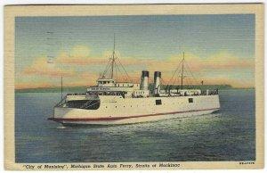 1953 Michigan Auto Ferry Boat, Straits of Mackinac Linen Postcard